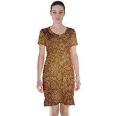 Batik Art Pattern Short Sleeve Nightdress