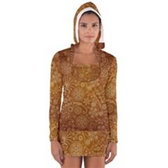 Batik Art Pattern Long Sleeve Hooded T Shirt