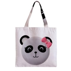 Pretty Cute Panda Zipper Grocery Tote Bag