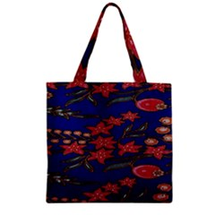 Batik  Fabric Zipper Grocery Tote Bag