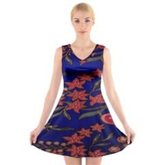 Batik  Fabric V Neck Sleeveless Skater Dress