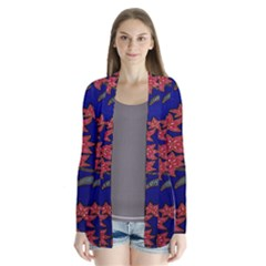 Batik  Fabric Drape Collar Cardigan