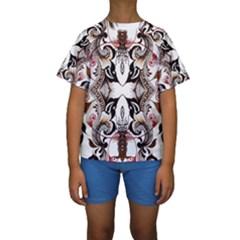 Art Traditional Batik Flower Pattern Kids  Short Sleeve Swimwear