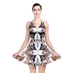 Art Traditional Batik Flower Pattern Reversible Skater Dress