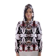 Art Traditional Batik Flower Pattern Hooded Wind Breaker (women)