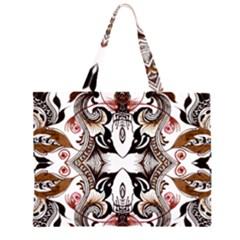 Art Traditional Batik Flower Pattern Zipper Large Tote Bag