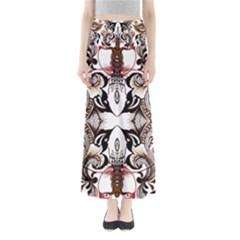 Art Traditional Batik Flower Pattern Full Length Maxi Skirt