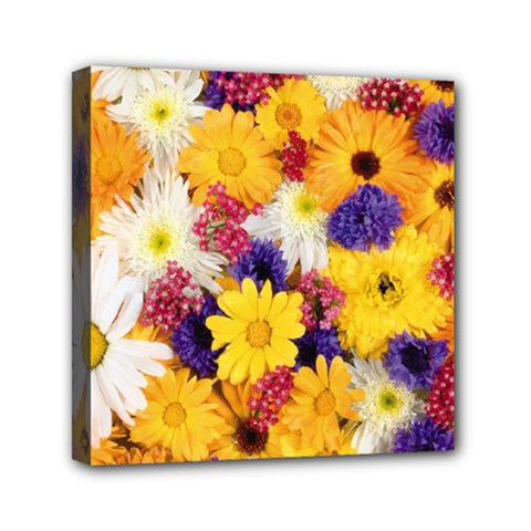 Colorful Flowers Pattern Mini Canvas 6  X 6