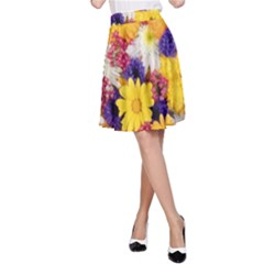 Colorful Flowers Pattern A Line Skirt