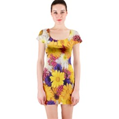 Colorful Flowers Pattern Short Sleeve Bodycon Dress