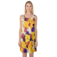 Colorful Flowers Pattern Sleeveless Satin Nightdress