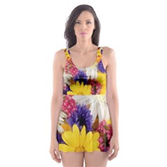 Colorful Flowers Pattern Skater Dress Swimsuit