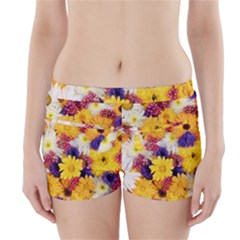 Colorful Flowers Pattern Boyleg Bikini Wrap Bottoms