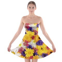 Colorful Flowers Pattern Strapless Bra Top Dress
