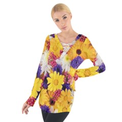 Colorful Flowers Pattern Tie Up Tee