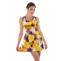 Colorful Flowers Pattern Cotton Racerback Dress