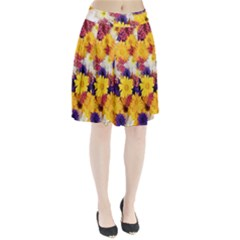 Colorful Flowers Pattern Pleated Skirt
