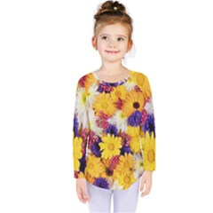 Colorful Flowers Pattern Kids  Long Sleeve Tee