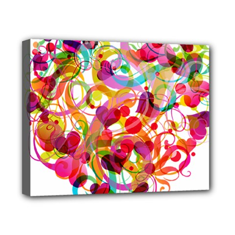 Abstract Colorful Heart Canvas 10  X 8