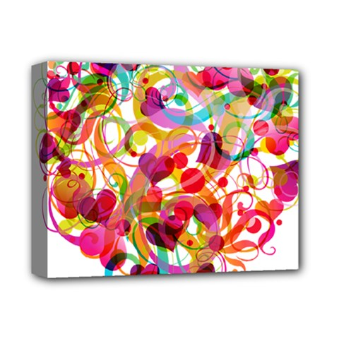 Abstract Colorful Heart Deluxe Canvas 14  X 11
