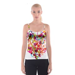 Abstract Colorful Heart Spaghetti Strap Top