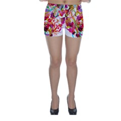 Abstract Colorful Heart Skinny Shorts