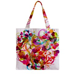 Abstract Colorful Heart Zipper Grocery Tote Bag