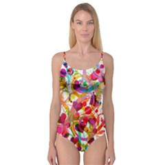 Abstract Colorful Heart Camisole Leotard