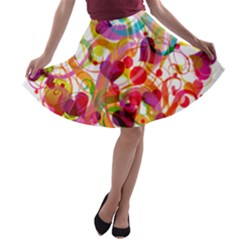 Abstract Colorful Heart A Line Skater Skirt