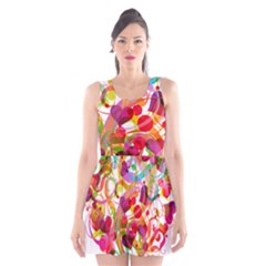 Abstract Colorful Heart Scoop Neck Skater Dress