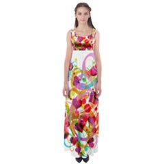 Abstract Colorful Heart Empire Waist Maxi Dress