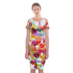 Abstract Colorful Heart Classic Short Sleeve Midi Dress