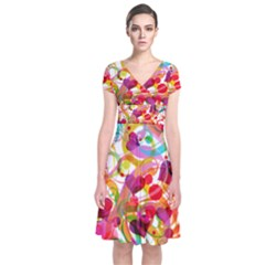 Abstract Colorful Heart Short Sleeve Front Wrap Dress