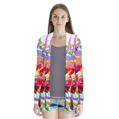 Abstract Colorful Heart Drape Collar Cardigan