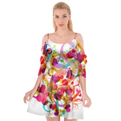 Abstract Colorful Heart Cutout Spaghetti Strap Chiffon Dress