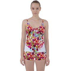 Abstract Colorful Heart Tie Front Two Piece Tankini