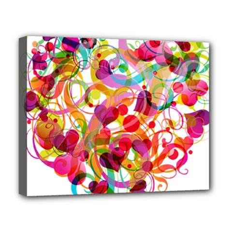 Abstract Colorful Heart Deluxe Canvas 20  X 16