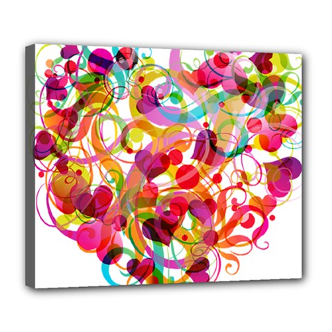 Abstract Colorful Heart Deluxe Canvas 24  X 20