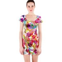 Abstract Colorful Heart Short Sleeve Bodycon Dress