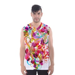 Abstract Colorful Heart Men s Basketball Tank Top