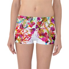 Abstract Colorful Heart Reversible Boyleg Bikini Bottoms
