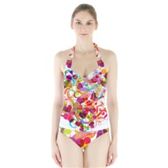 Abstract Colorful Heart Halter Swimsuit