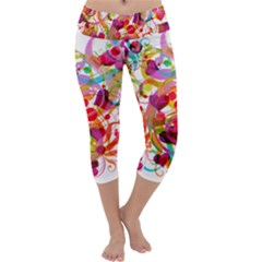 Abstract Colorful Heart Capri Yoga Leggings