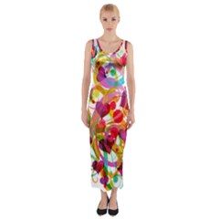 Abstract Colorful Heart Fitted Maxi Dress