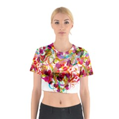 Abstract Colorful Heart Cotton Crop Top