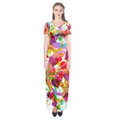Abstract Colorful Heart Short Sleeve Maxi Dress