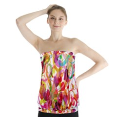 Abstract Colorful Heart Strapless Top