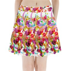 Abstract Colorful Heart Pleated Mini Skirt