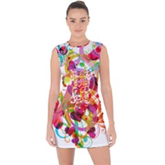 Abstract Colorful Heart Lace Up Front Bodycon Dress