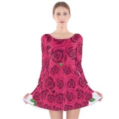 Floral Heart Long Sleeve Velvet Skater Dress